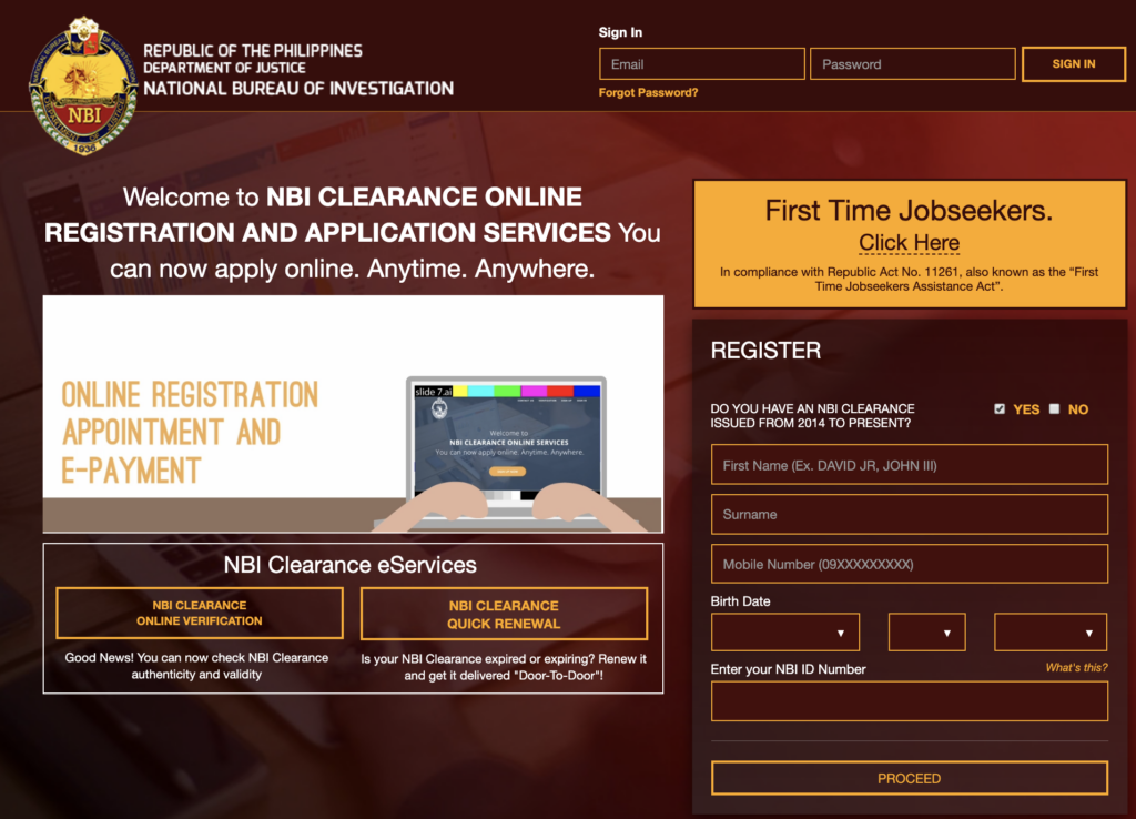 online appointment of NBI clearance